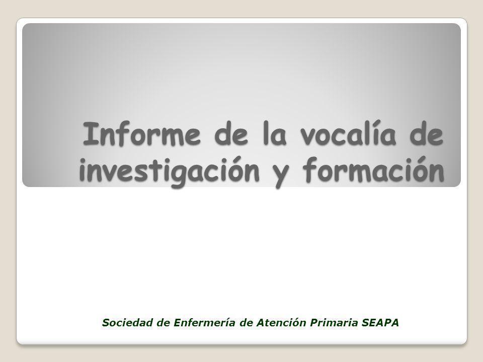 Informe de la vocalía de investigación y formación