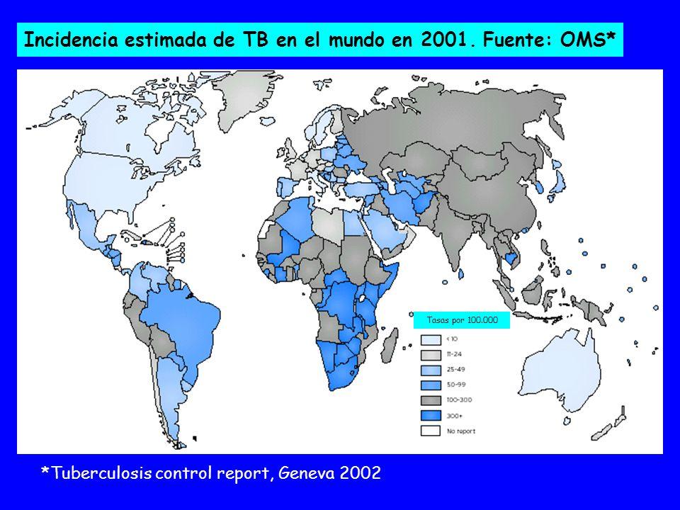 Incidencia estimada de TB en el mundo en 2001. Fuente: OMS*