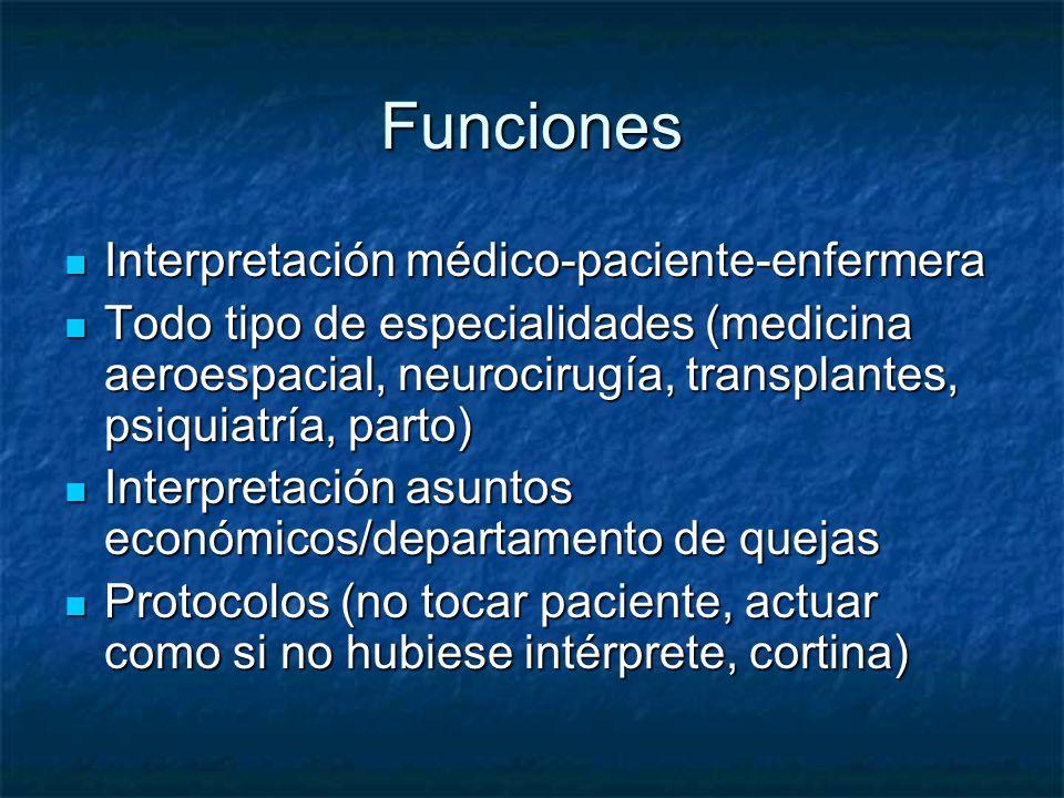Funciones Interpretación médico-paciente-enfermera
