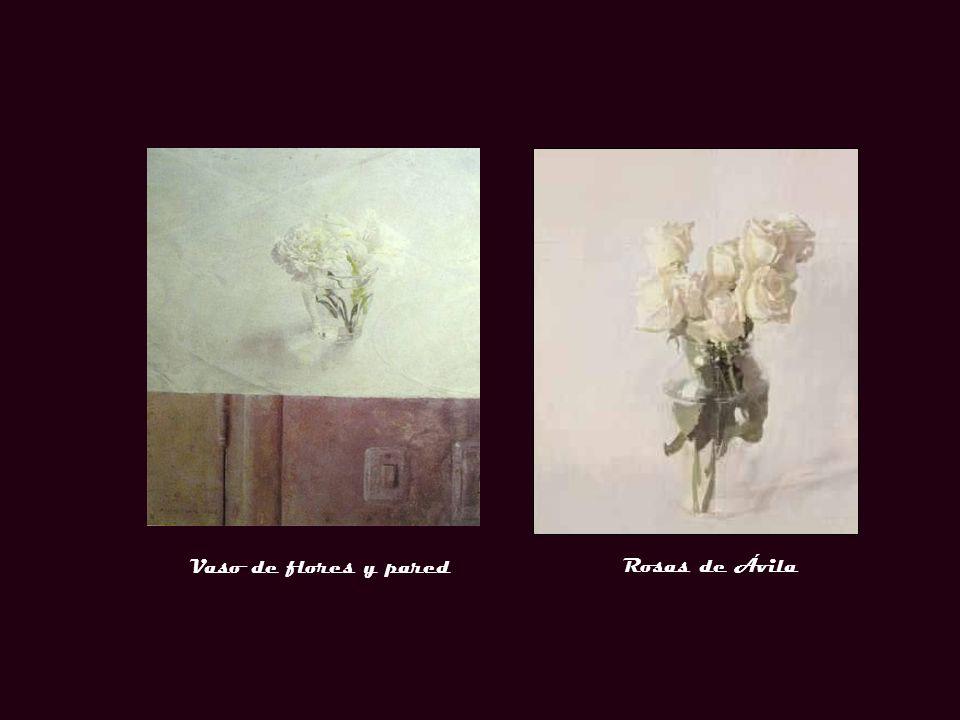 Vaso de flores y pared Rosas de Ávila