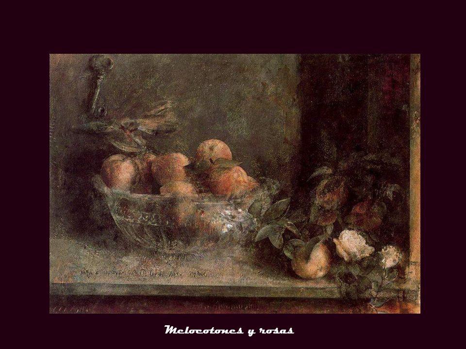 Plato de uvas y jarra Melocotones y rosas