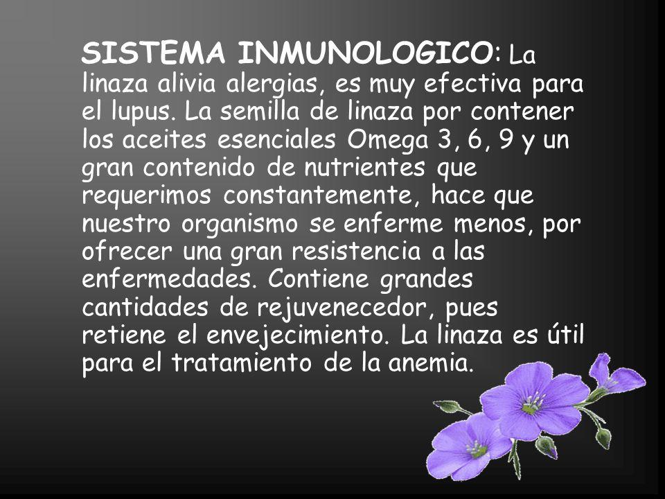 SISTEMA INMUNOLOGICO: La linaza alivia alergias, es muy efectiva para el lupus.
