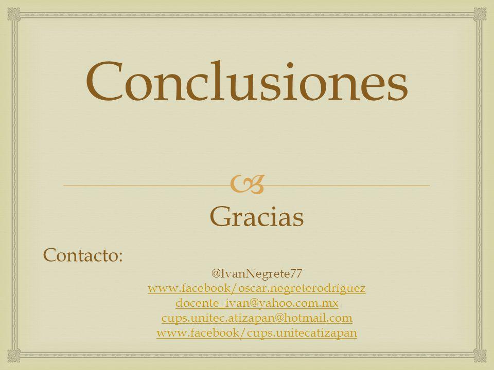 Conclusiones Gracias Contacto: @IvanNegrete77
