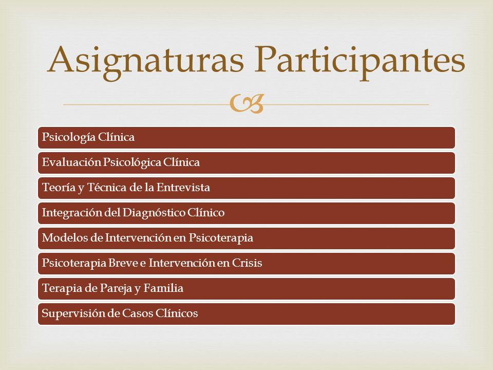 Asignaturas Participantes
