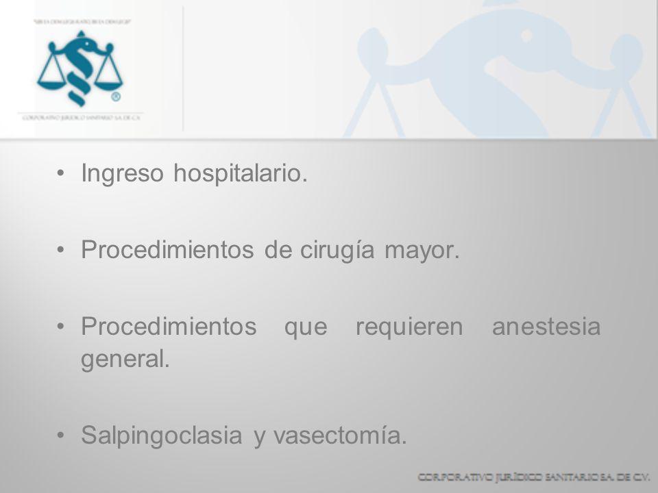 Ingreso hospitalario.Procedimientos de cirugía mayor. Procedimientos que requieren anestesia general.