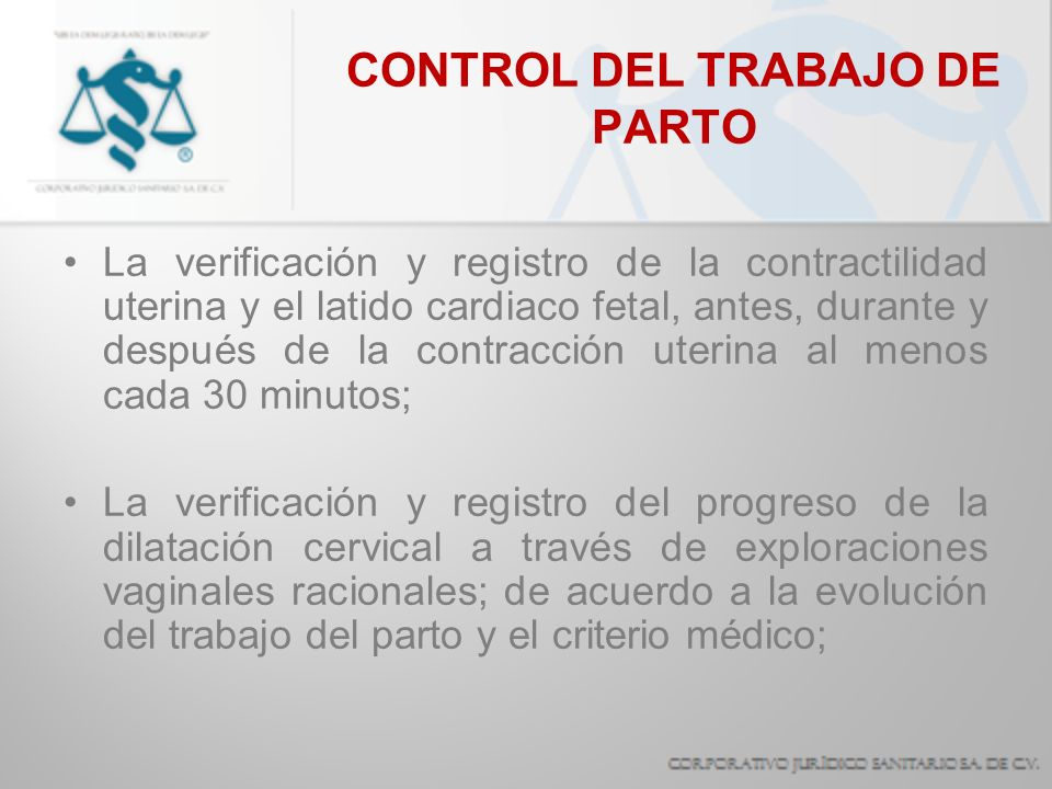 CONTROL DEL TRABAJO DE PARTO