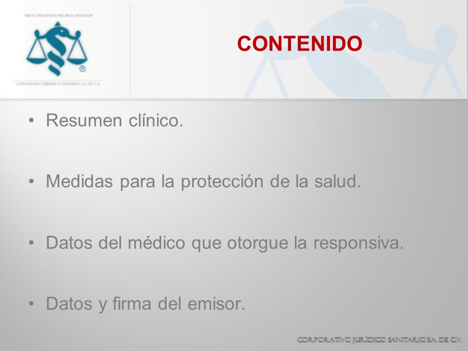 CONTENIDO Resumen clínico. Medidas para la protección de la salud.