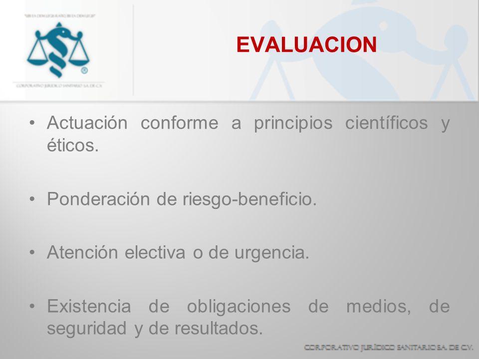 EVALUACION Actuación conforme a principios científicos y éticos.