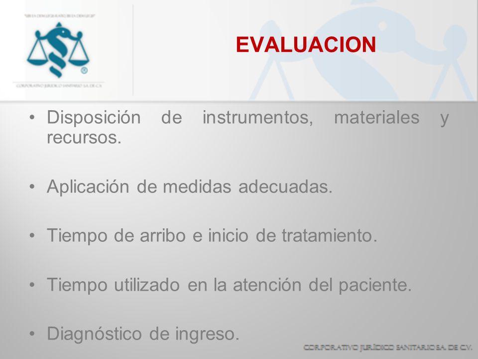 EVALUACION Disposición de instrumentos, materiales y recursos.