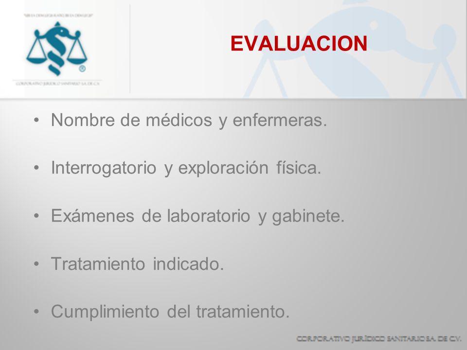EVALUACION Nombre de médicos y enfermeras.