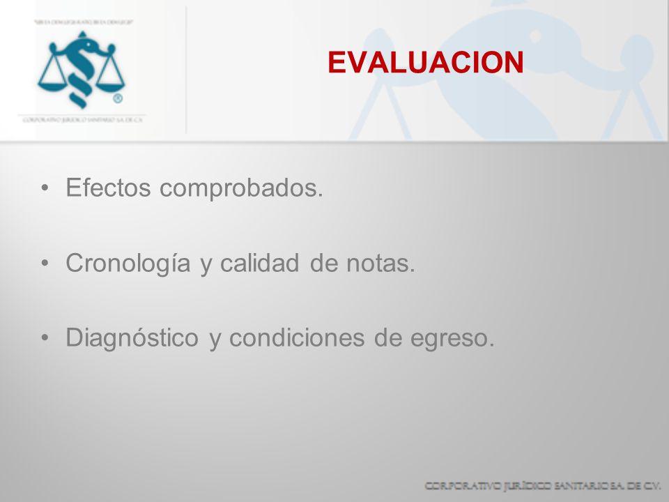 EVALUACION Efectos comprobados. Cronología y calidad de notas.