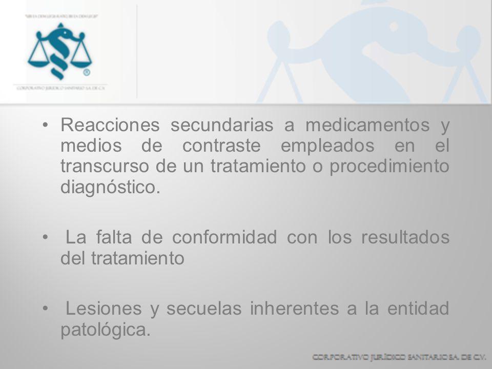 Reacciones secundarias a medicamentos y medios de contraste empleados en el transcurso de un tratamiento o procedimiento diagnóstico.