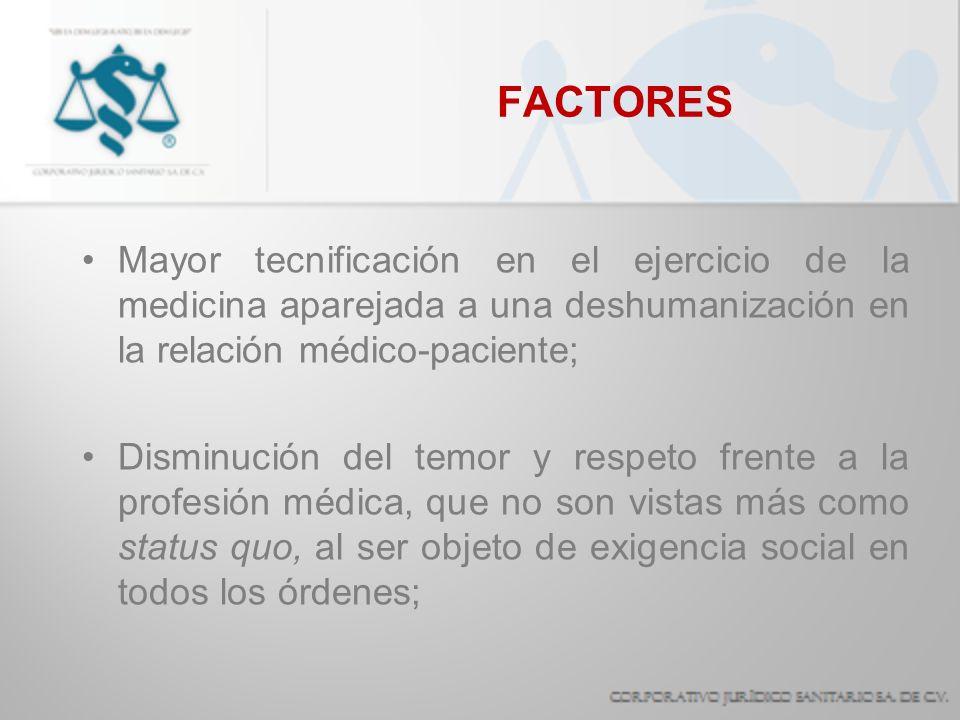 FACTORES Mayor tecnificación en el ejercicio de la medicina aparejada a una deshumanización en la relación médico-paciente;