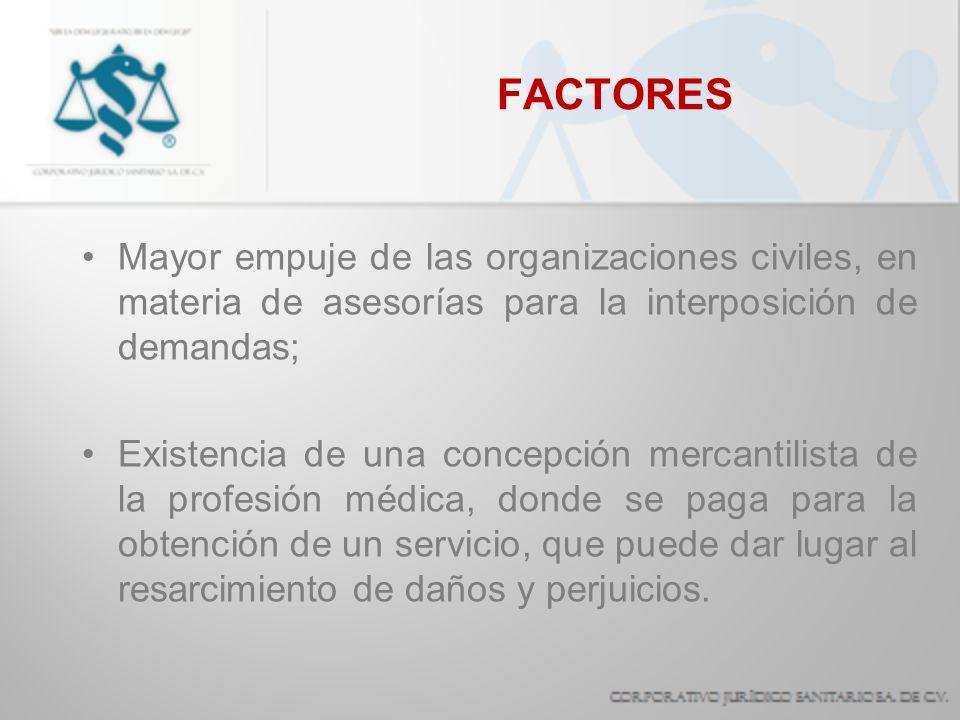 FACTORES Mayor empuje de las organizaciones civiles, en materia de asesorías para la interposición de demandas;