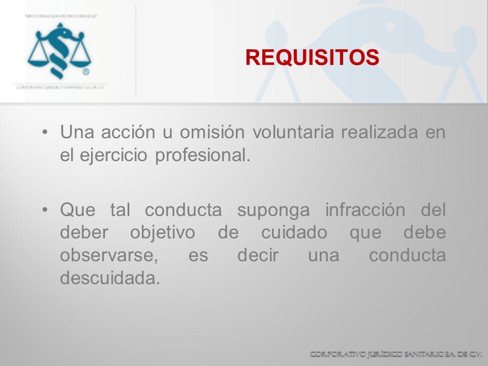 REQUISITOS Una acción u omisión voluntaria realizada en el ejercicio profesional.