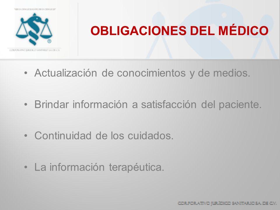 OBLIGACIONES DEL MÉDICO
