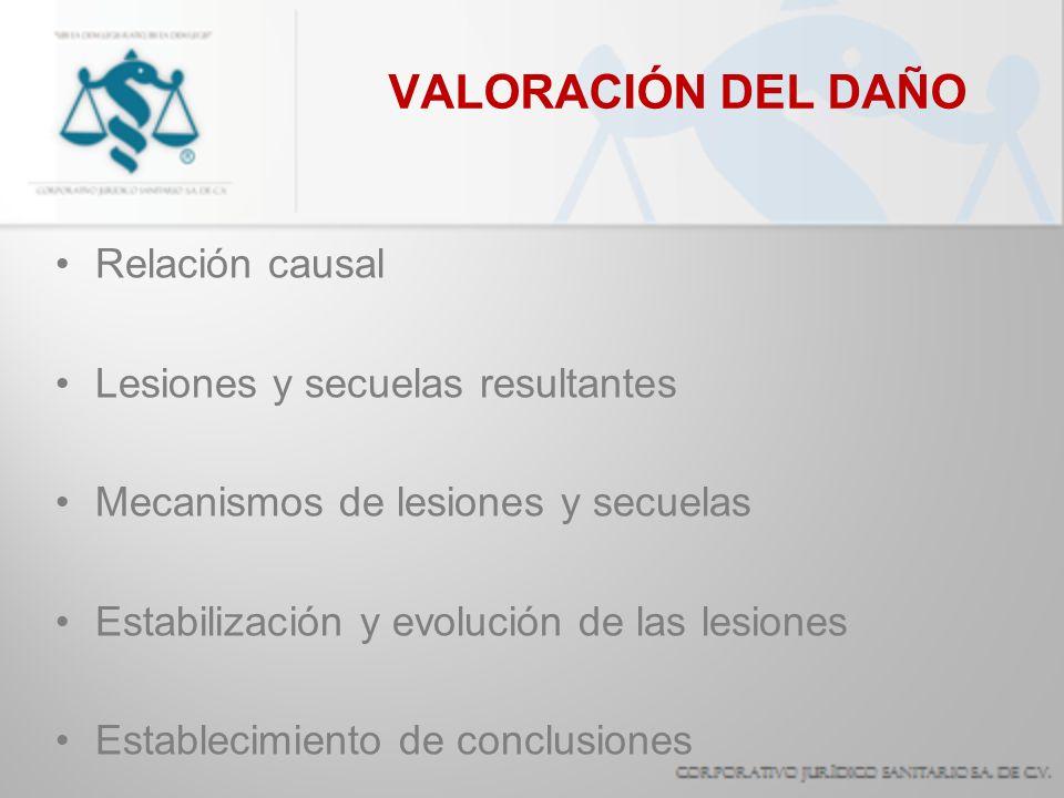 VALORACIÓN DEL DAÑO Relación causal Lesiones y secuelas resultantes