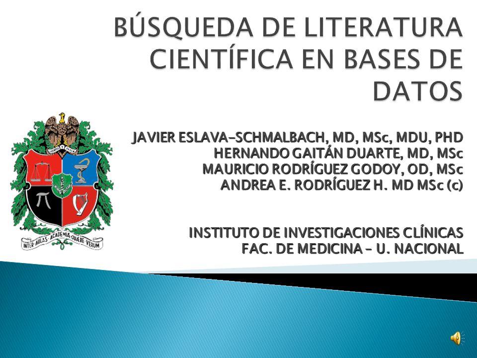 BÚSQUEDA DE LITERATURA CIENTÍFICA EN BASES DE DATOS
