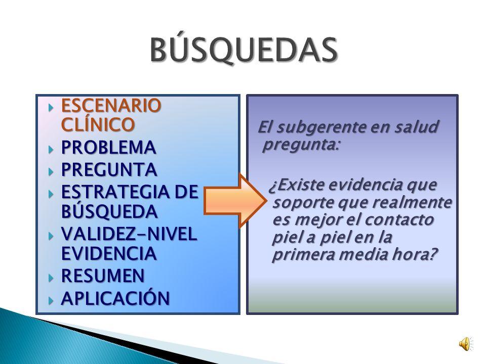BÚSQUEDAS ESCENARIO CLÍNICO PROBLEMA PREGUNTA ESTRATEGIA DE BÚSQUEDA