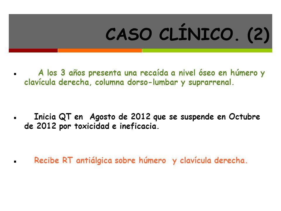 CASO CLÍNICO. (2) A los 3 años presenta una recaída a nivel óseo en húmero y clavícula derecha, columna dorso-lumbar y suprarrenal.