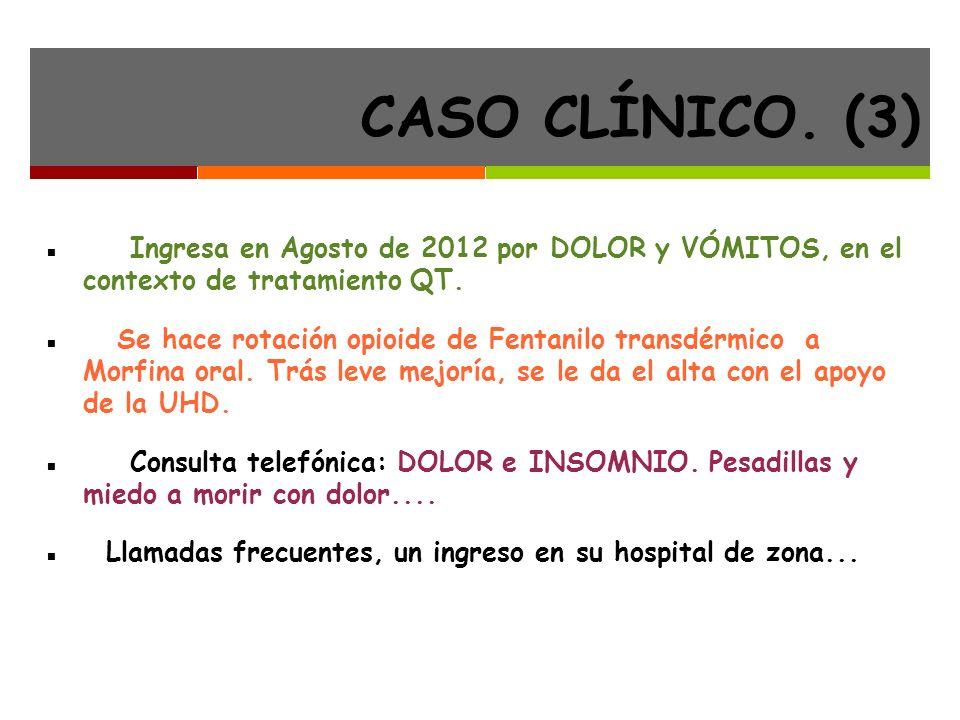 CASO CLÍNICO. (3) Ingresa en Agosto de 2012 por DOLOR y VÓMITOS, en el contexto de tratamiento QT.