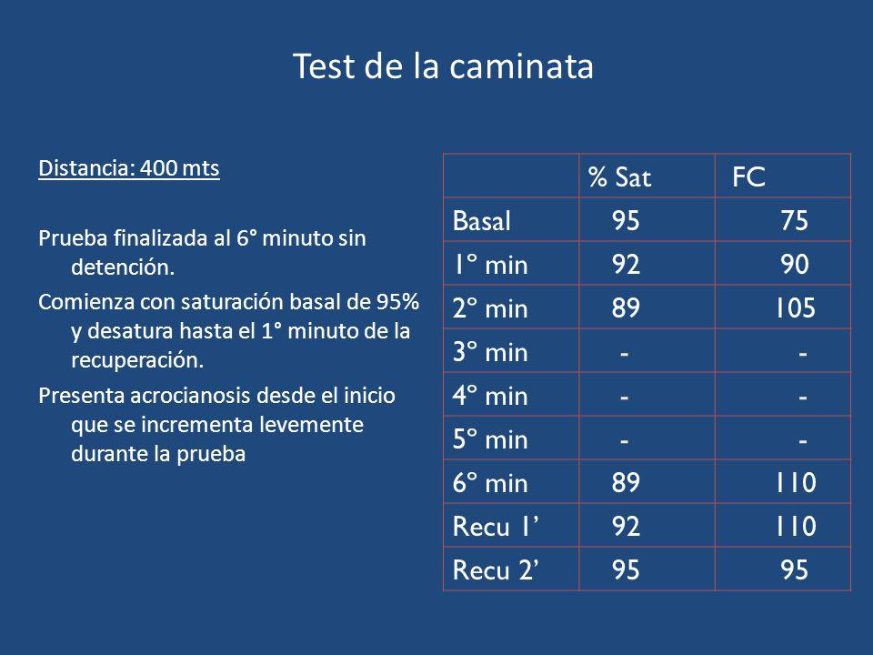 Test de la caminata % Sat FC Basal 95 75 1º min 92 90 2º min 89 105