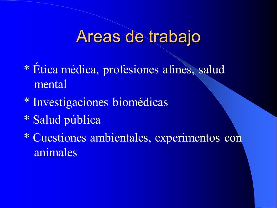 Areas de trabajo * Ética médica, profesiones afines, salud mental