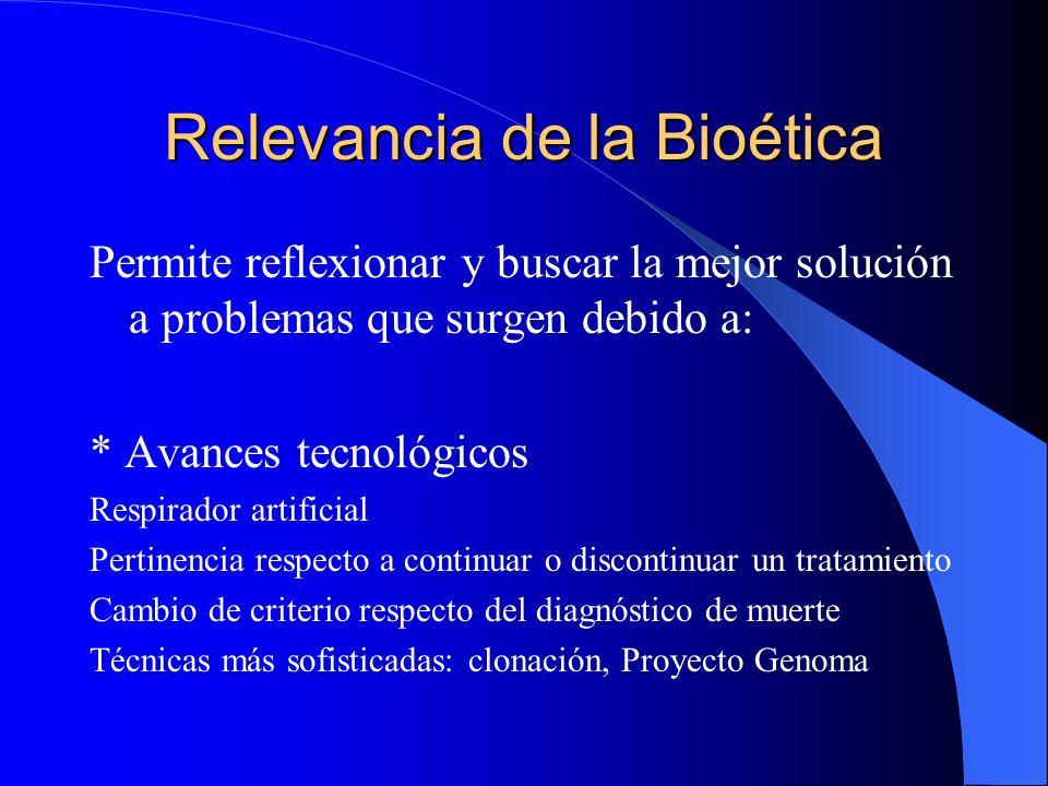 Relevancia de la Bioética
