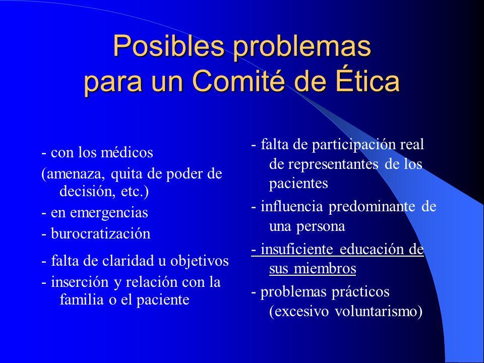 Posibles problemas para un Comité de Ética