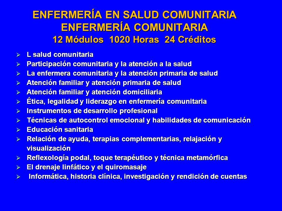 ENFERMERÍA EN SALUD COMUNITARIA ENFERMERÍA COMUNITARIA 12 Módulos 1020 Horas 24 Créditos
