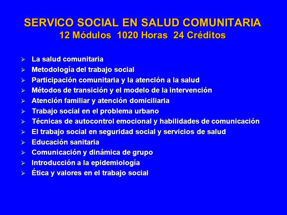 SERVICO SOCIAL EN SALUD COMUNITARIA 12 Módulos 1020 Horas 24 Créditos
