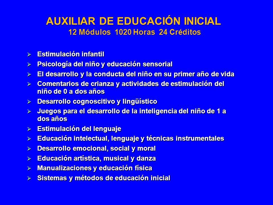 AUXILIAR DE EDUCACIÓN INICIAL 12 Módulos 1020 Horas 24 Créditos