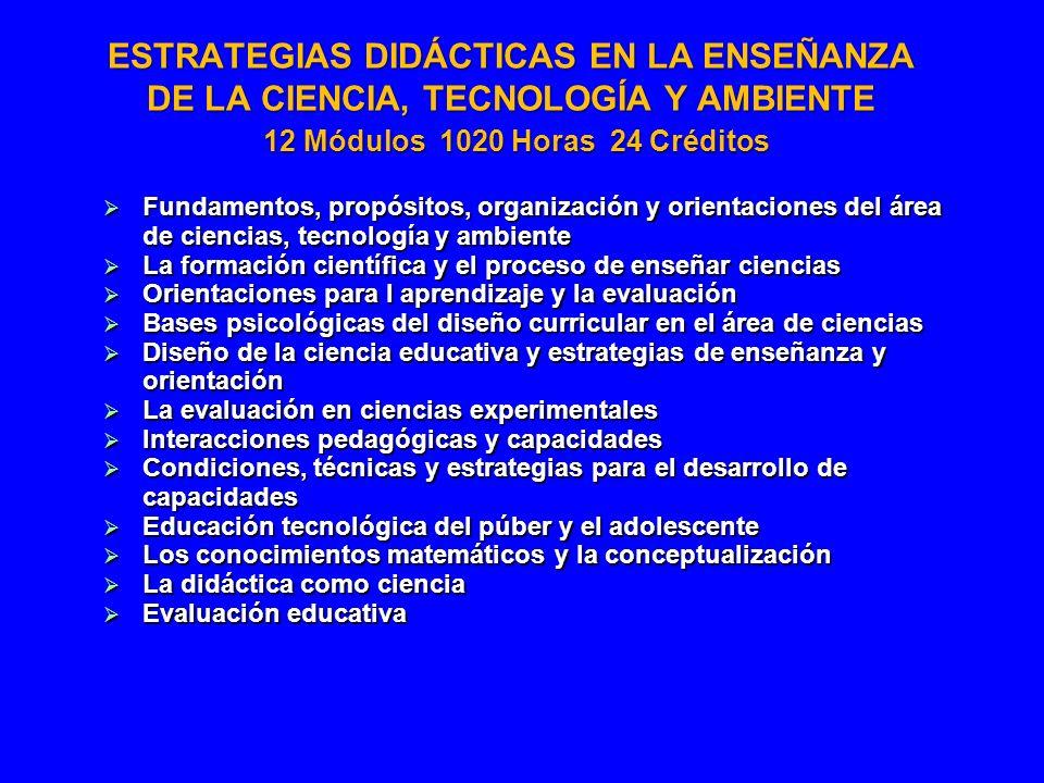 ESTRATEGIAS DIDÁCTICAS EN LA ENSEÑANZA DE LA CIENCIA, TECNOLOGÍA Y AMBIENTE 12 Módulos 1020 Horas 24 Créditos