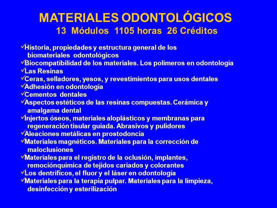 MATERIALES ODONTOLÓGICOS 13 Módulos 1105 horas 26 Créditos