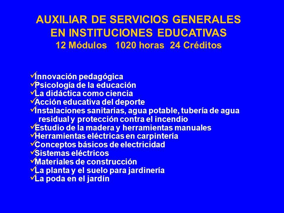 AUXILIAR DE SERVICIOS GENERALES EN INSTITUCIONES EDUCATIVAS