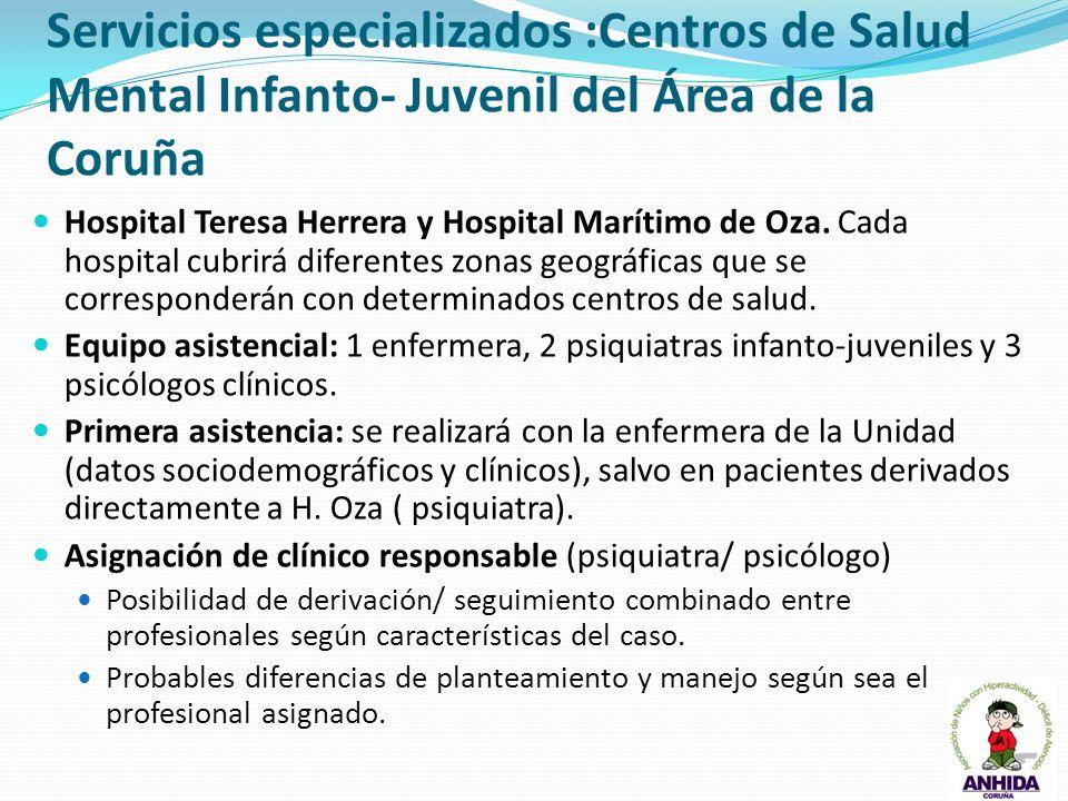 Servicios especializados :Centros de Salud Mental Infanto- Juvenil del Área de la Coruña