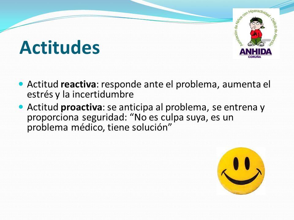 Actitudes Actitud reactiva: responde ante el problema, aumenta el estrés y la incertidumbre.