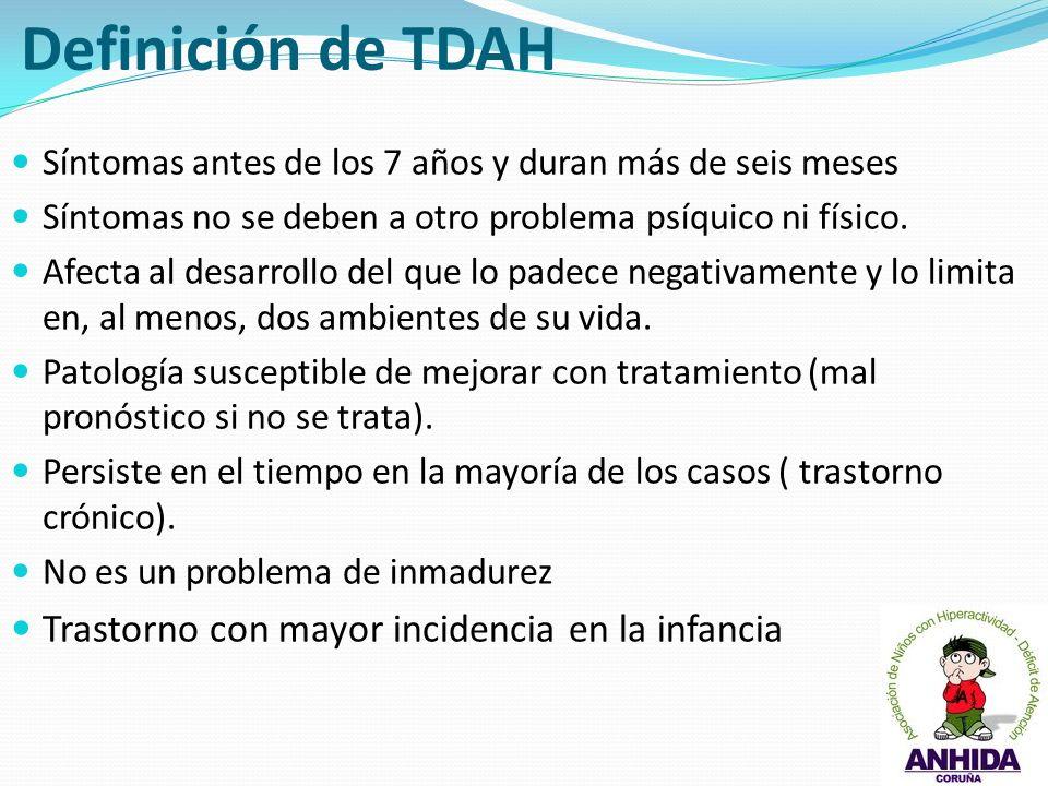 Definición de TDAH Trastorno con mayor incidencia en la infancia