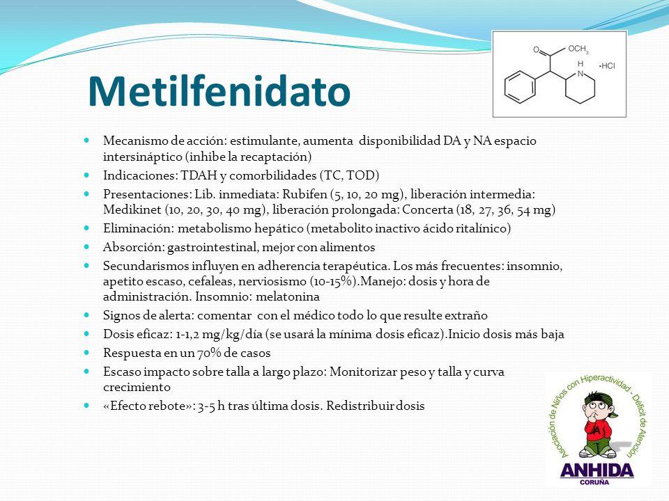 MetilfenidatoMecanismo de acción: estimulante, aumenta disponibilidad DA y NA espacio intersináptico (inhibe la recaptación)
