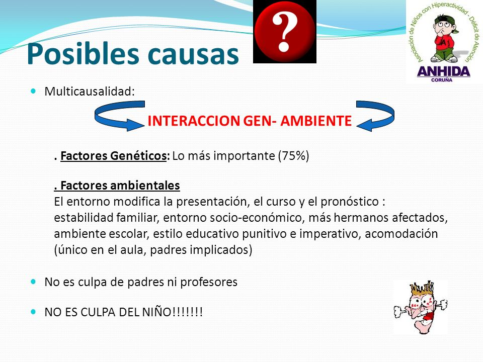 Posibles causas INTERACCION GEN- AMBIENTE Multicausalidad:
