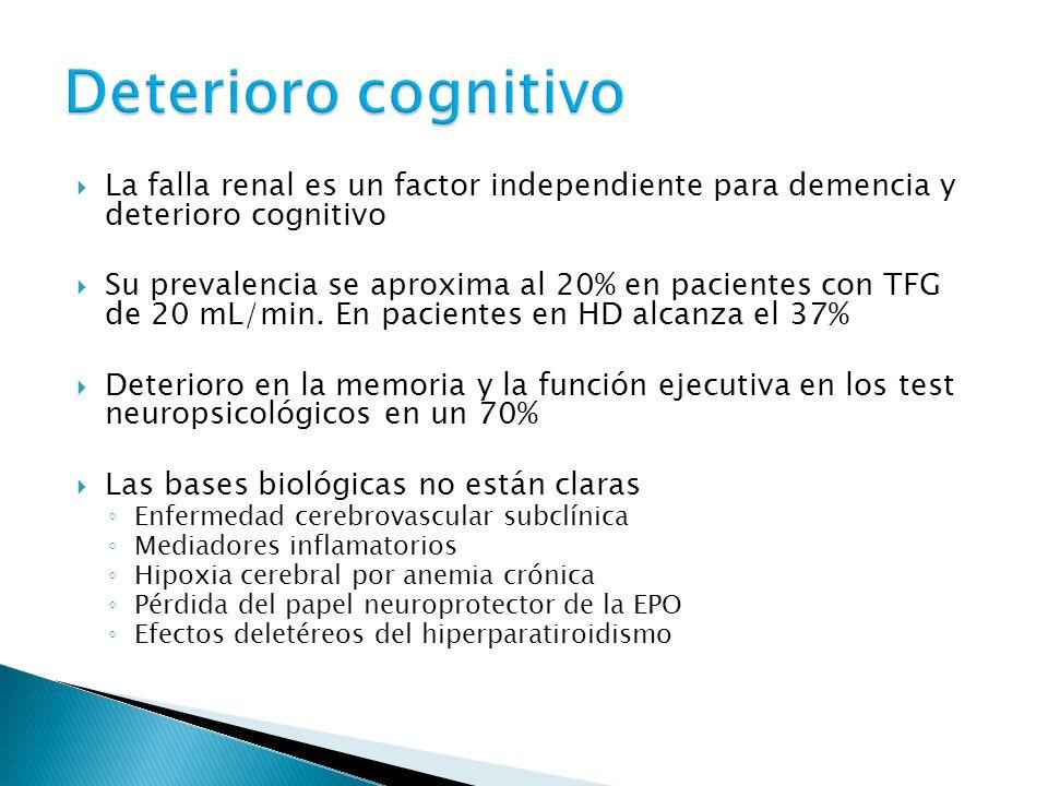 Deterioro cognitivo La falla renal es un factor independiente para demencia y deterioro cognitivo.