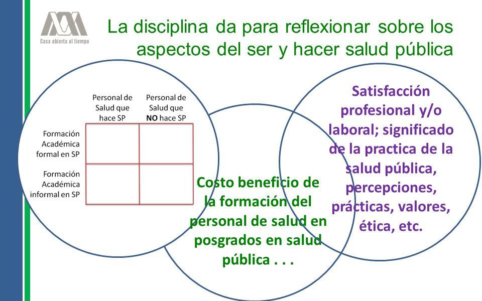 La disciplina da para reflexionar sobre los aspectos del ser y hacer salud pública