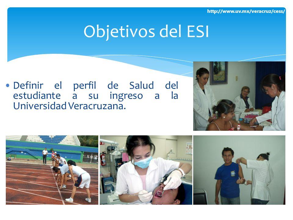 Objetivos del ESI Definir el perfil de Salud del estudiante a su ingreso a la Universidad Veracruzana.