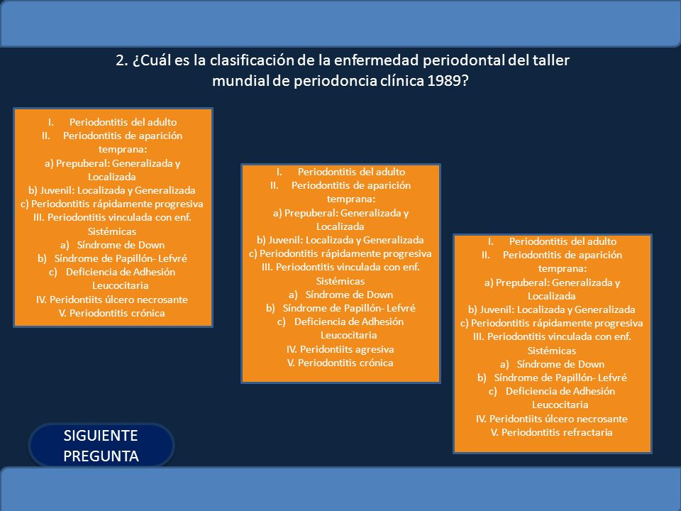 2. ¿Cuál es la clasificación de la enfermedad periodontal del taller mundial de periodoncia clínica 1989