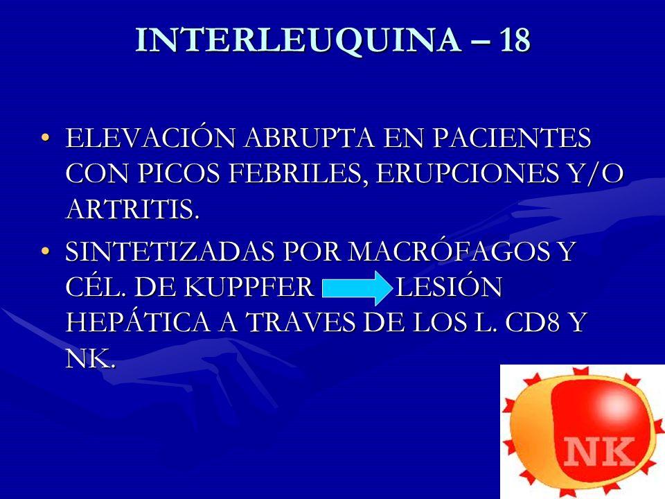 INTERLEUQUINA – 18 ELEVACIÓN ABRUPTA EN PACIENTES CON PICOS FEBRILES, ERUPCIONES Y/O ARTRITIS.