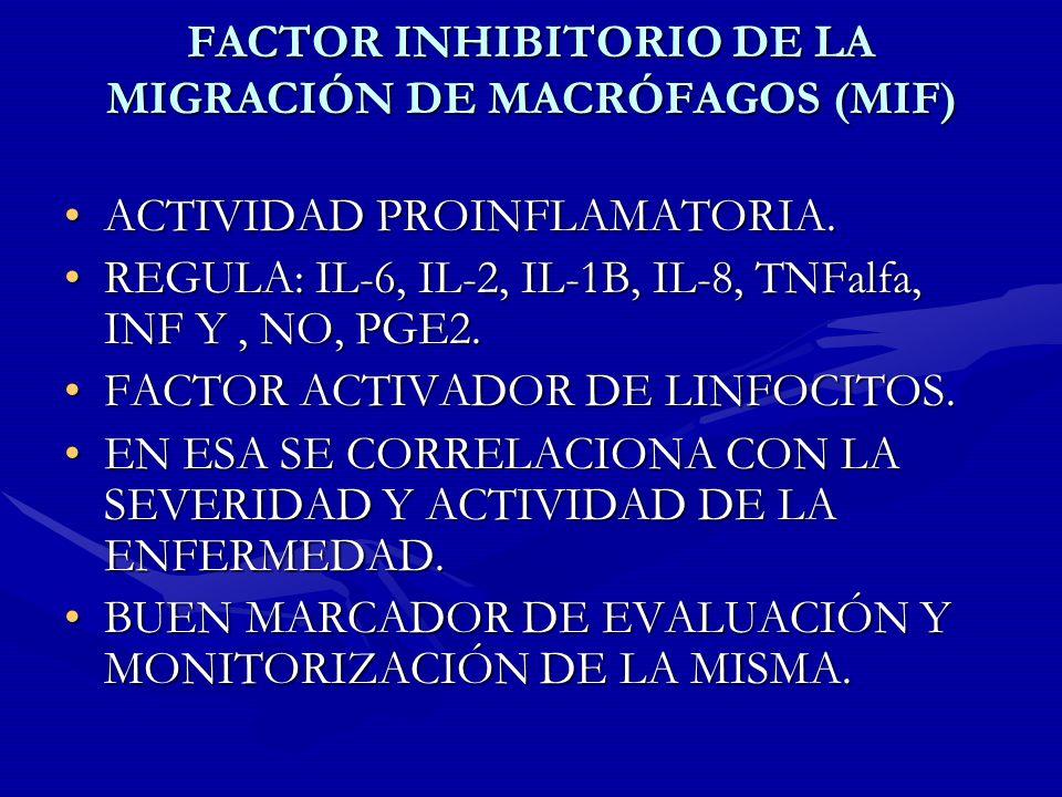 FACTOR INHIBITORIO DE LA MIGRACIÓN DE MACRÓFAGOS (MIF)