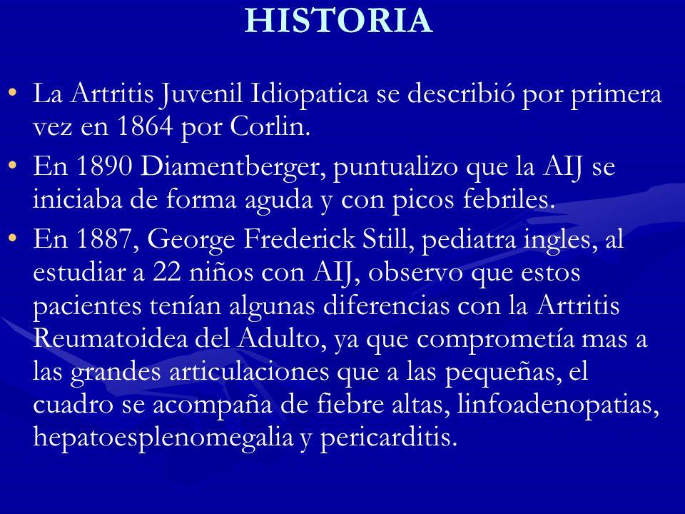 HISTORIA La Artritis Juvenil Idiopatica se describió por primera vez en 1864 por Corlin.
