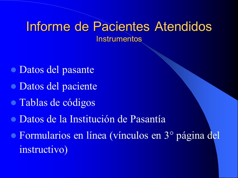 Informe de Pacientes Atendidos Instrumentos