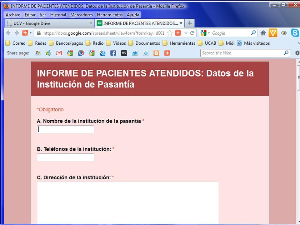 Informe de Pacientes Atendidos Formularios en línea