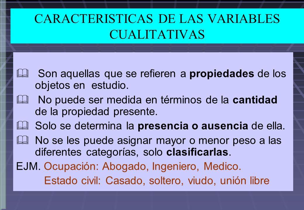 CARACTERISTICAS DE LAS VARIABLES CUALITATIVAS